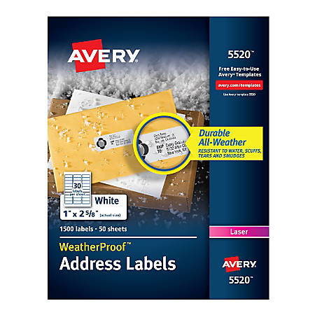 """Avery® WeatherProof™ Laser Address Labels With TrueBlock Technology, 5520, 1"""" x 2 5/8"""", White, Pack Of 1,500"""