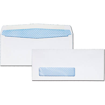 """Quality Park Wove Finish Security Window Envelope - Security - #9 - 8 7/8"""" Width x 3 7/8"""" Length - 24 lb - Gummed - 500 / Box - White"""