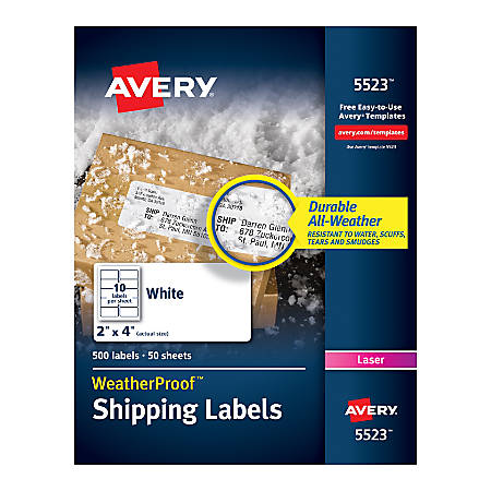 Avery Weatherproof Laser Mailing Labels With Trueblock Technology