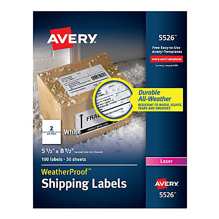 "Avery® WeatherProof™ Laser Mailing Labels With TrueBlock® Technology, 5526, 5 1/2"" x 8 1/2"", White, Pack Of 100"