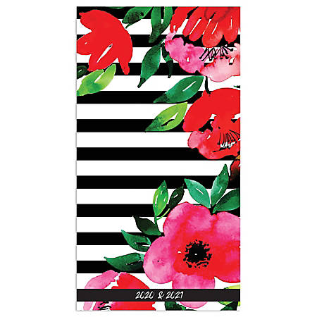 "TF Publishing 24-Month Monthly Pocket Planner, 3-1/2"" x 6-1/2"", Classic Floral Stripe, January 2020 To December 2021"