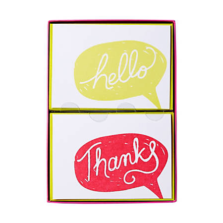 """Sincerely A Collection by C.R. Gibson® Double-Pack Note Cards With Envelopes, 4 7/8"""" x 3 1/2"""", Hello/Thanks, Box Of 16"""