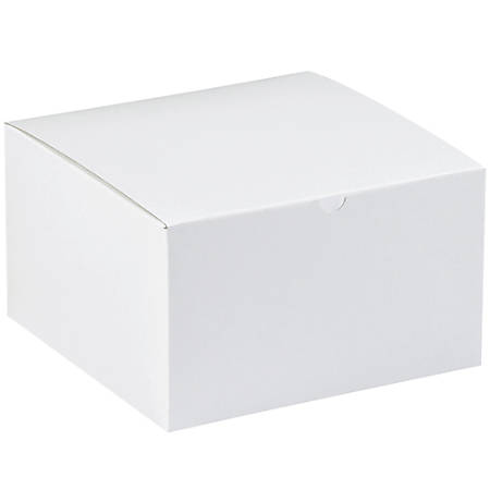 "Office Depot® Brand Gift Boxes, 9""L x 9""W x 5 1/2""H, 100% Recycled, White, Case Of 50"