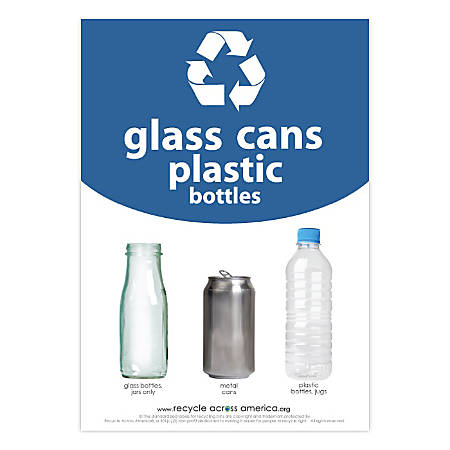 """Recycle Across America Glass, GCP-1007, Cans And Plastics Standardized Recycling Label, 10"""" x 7"""", Blue"""