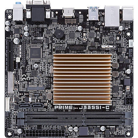 Asus Prime J3355I-C Desktop Motherboard - Intel Chipset - Intel Celeron J3355 - 16 GB DDR3 SDRAM Maximum RAM - UDIMM, DIMM - 2 x Memory Slots - Gigabit Ethernet - 4 x USB 3.1 Port - HDMI - 2 x SATA Interfaces