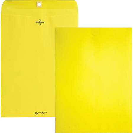 """Quality Park Brightly Colored 9x12 Clasp Envelopes - Clasp - #90 - 9"""" Width x 12"""" Length - 28 lb - Gummed - 10 / Pack - Yellow"""