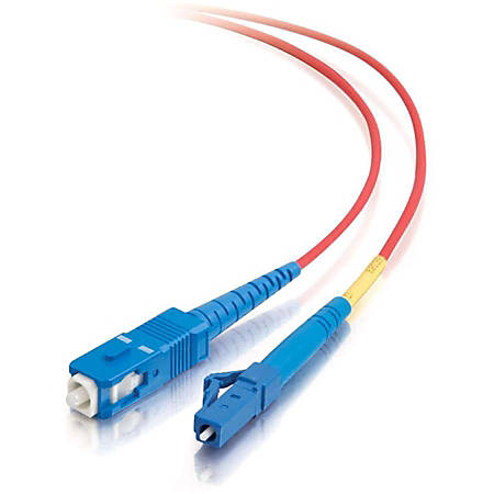 C2G 3m LC-SC 9/125 OS1 Simplex Singlemode Fiber Optic Cable (Plenum-Rated) - Red