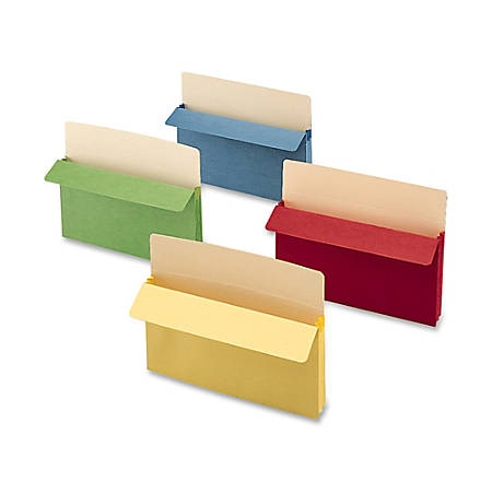 "Smead® Color Top-Tab File Pockets, Letter Size, 3 1/2"" Expansion, Assorted Colors (No Color Choice), Box Of 25"