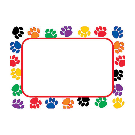 """Teacher Created Resources Colorful Paw Prints Name Tags, 3 1/2"""" x 2 1/2"""", Multicolor, Pack Of 180"""