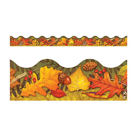 "TREND Terrific Trimmer® Borders, 2 1/4"" x 39"", Leaves Of Autumn, Pre-K - Grade 6, Pack Of 12"