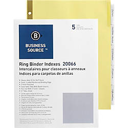 Business Source Insertable 5 Tab Ring