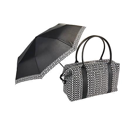 "GNBI Duffel Bag With Umbrella, 13""H x 24""W x 7""D, Black/White"