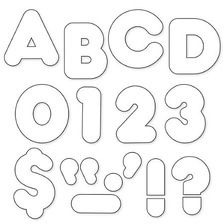 """TREND Ready Letters®, 2"""", Casual Letters/Numbers, White, Pre-K - Grade 8, Pack Of 142"""