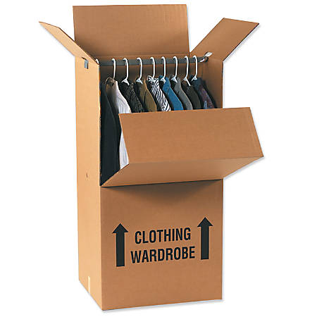 """Office Depot® Brand Wardrobe Moving Boxes, 24"""" x 20"""" x 46"""", Kraft Pack Of 5"""
