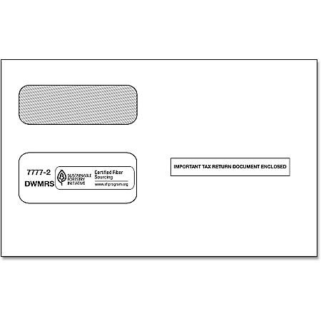 ComplyRight Double-Window Envelopes For 1099 Laser and Continuous Forms, Pack Of 50 Envelopes