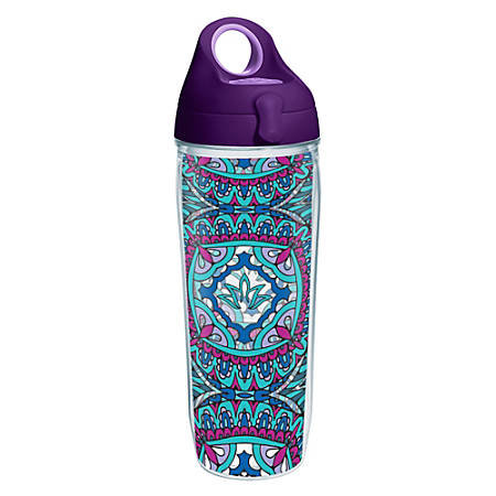 Tervis Kaleidoscope Yoga Lotus Water Bottle With Lid, 24 Oz, Clear