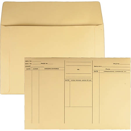 """Quality Park Attorney's File Style Fold Flap Envelope - Document - 14 3/4"""" Width x 10"""" Length - 100 / Box - Buff"""