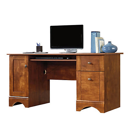 "Sauder® Select 60""W Double-Pedestal Computer Desk, Brushed Maple"