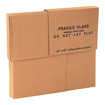 "Office Depot® Brand 4-Piece Mirror Deluxe Moving Boxes, 30"" x 40"" x 3 1/2"""
