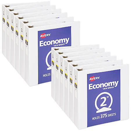 """Avery® Economy View Binders With Round Rings, 2"""" Rings, 37% Recycled, White, Case Of 12 Binders"""