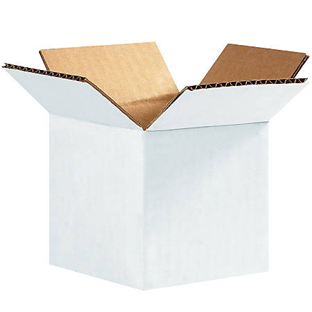 "Office Depot® Brand White Corrugated Cartons, 4"" x 4"" x 4"", Pack Of 25"