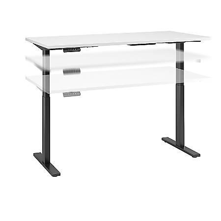 "Bush Business Furniture Move 60 Series 60""W x 24""D Height Adjustable Standing Desk, White/Black Base, Premium Installation"