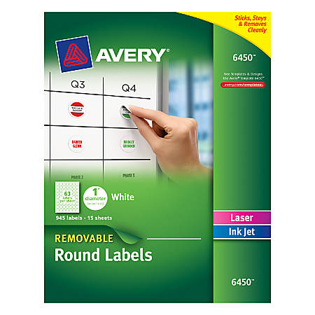 avery removable round multipurpose labels 6450 1 diameter white pack of 945 by office depot. Black Bedroom Furniture Sets. Home Design Ideas