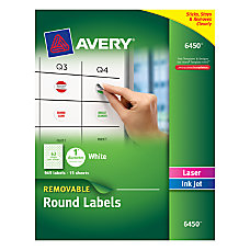 Avery Removable Round Multipurpose Labels 6450