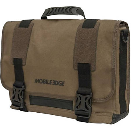 """Mobile Edge ECO Carrying Case (Messenger) for 14"""" MacBook Pro - Olive - Cotton Canvas - Shoulder Strap, Clip - 10.5"""" Height x 15.5"""" Width x 4"""" Depth"""