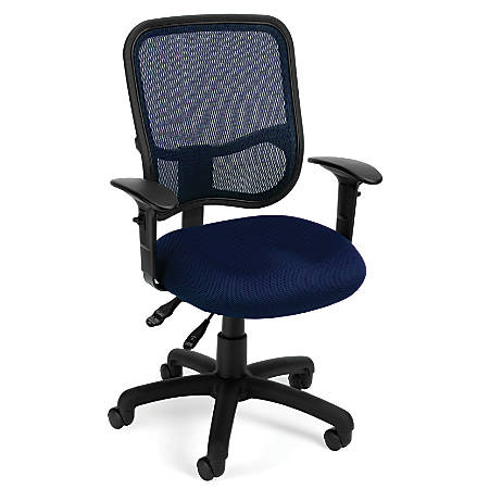 OFM Mesh Comfort Series Fabric Mid-Back Task Chair With Arms, Navy/Black