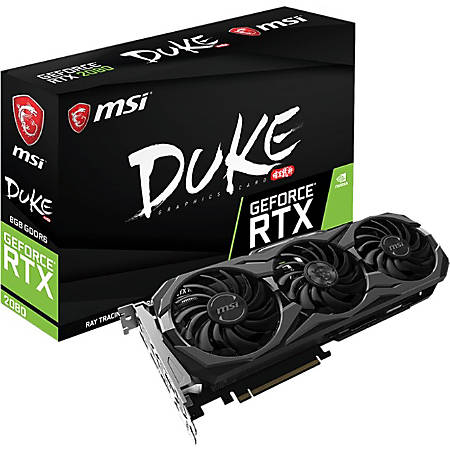 MSI DUKE GeForce RTX 2080 DUKE 8G OC GeForce RTX 2080 Graphic Card - 8 GB GDDR6 - 256 bit Bus Width Type-C Host Interface - DisplayPort - HDMI