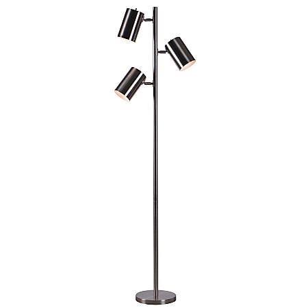"Kenroy Home Beech 3-Light Tree Floor Lamp, 64""H, Brushed Steel"