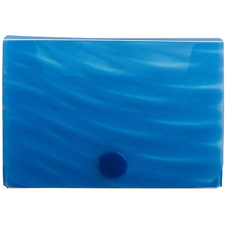 JAM Paper® Plastic Business Card Case With Snap Closure, Blue Wave