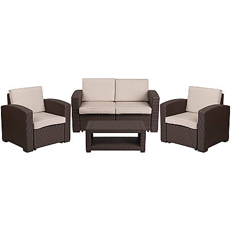 Tremendous Flash Furniture 4 Piece Outdoor Faux Rattan Loveseat Chair And Table Set Chocolate Brown Item 6958649 Alphanode Cool Chair Designs And Ideas Alphanodeonline