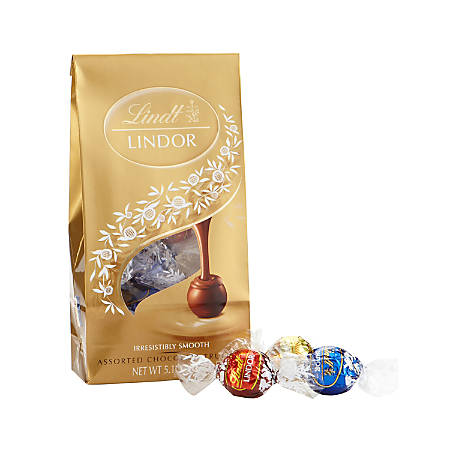 Lindor Chocolate Truffles, Assorted, 5.1 Oz, Pack Of 3 Bags
