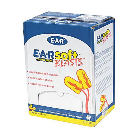 3M E-A-Rsoft Blasts Earplugs, Yellow Neon, Box Of 200 Pairs