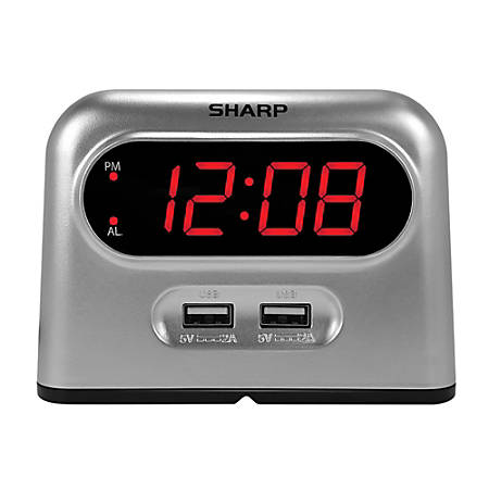 "Sharp® Digital Alarm Clock With USB Charging, 3-7/16""H x 4-11/16""W x 2-1/4""D, Silver"
