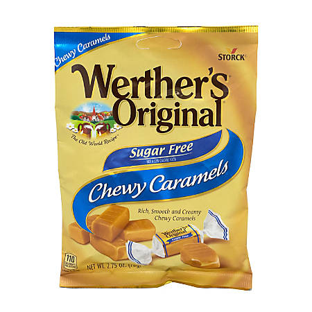 Werther's Original Chewy Sugar-Free Caramels, 2.75 Oz, Pack Of 3 Bags