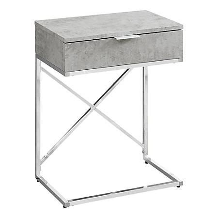 Monarch Specialties Accent End Table, Rectangular, Gray Cement/Chrome