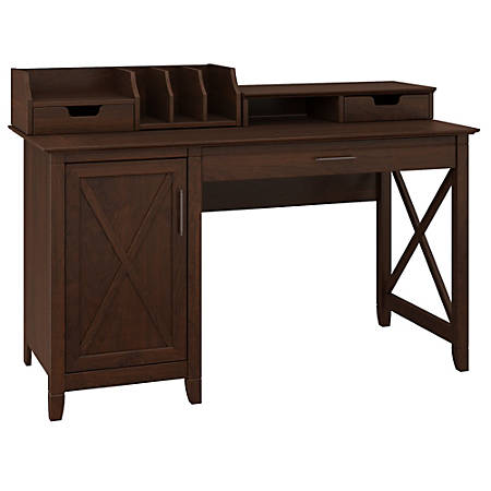 "Bush Furniture Key West 54""W Computer Desk With Storage And Desktop Organizers, Bing Cherry, Standard Delivery"