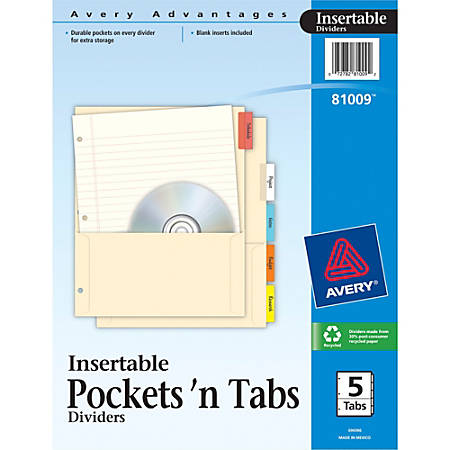 """Avery® Pockets 'n Tabs Insertable Dividers - 5 Tab(s) - 5 Tab(s)/Set - 8.9"""" Divider Width x 11"""" Divider Length - Assorted Divider - Multicolor Tab(s) - 5 / Set"""