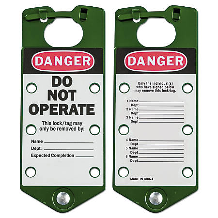 Labeled Lockout Hasps, 3 in W x 7 1/4 in L, Green