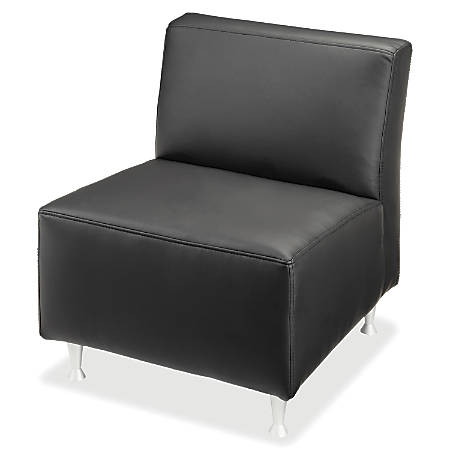 Lorell® Fuze Modular Armless Lounge Chair, Leather, Black
