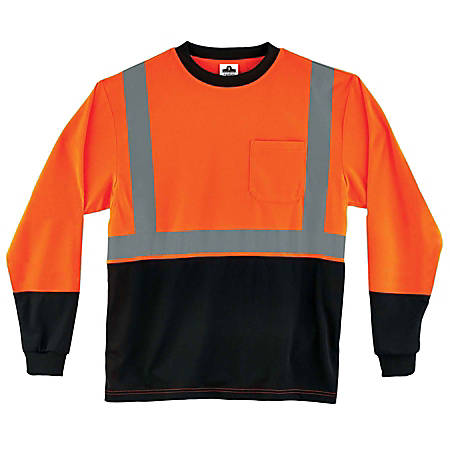Ergodyne GloWear 8291BK Type-R Class 2 Long-Sleeve T-Shirt, Large, Black/Orange