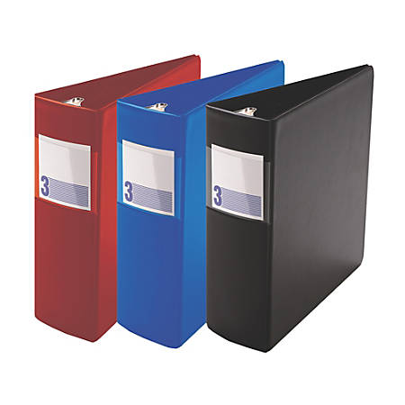 """Stride® Heavy-Duty Binder With Label Holder, 3"""" Rings, 43% Recycled, Red"""