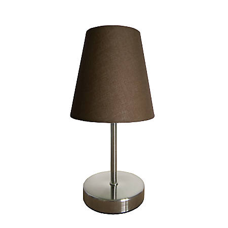 "Simple Designs Mini Basic Table Lamp, 10"", Brown Shade/Sand Nickel Base"