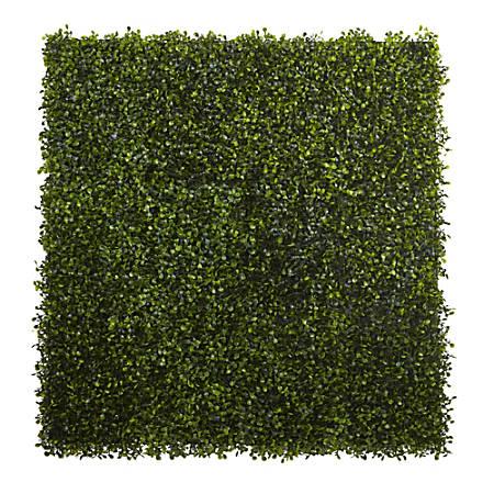 "Nearly Natural Plastic Boxwood Mats, 12"" x 10"", Green, Set Of 12 Mats"