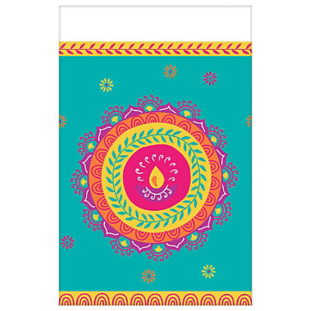 """Amscan Diwali Plastic Table Cover, 54"""" x 102"""", Pack Of 3"""