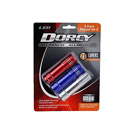 Dorcy 41-3246 9 LED Aluminum Flashlight, Red, Blue, Silver, Pack Of 3