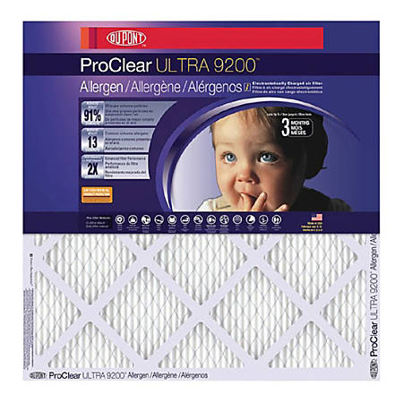 """DuPont ProClear Ultra 9200 Air Filters, 12""""H x 12""""W x 1""""D, Pack Of 4 Air Filters"""
